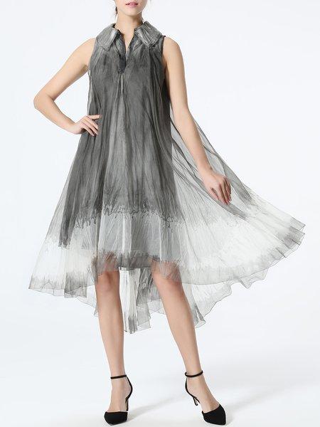 Gray Gradient Sleeveless Midi Dress