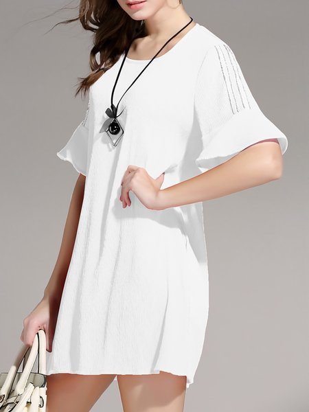 White Shift Ribbed Simple Mini Dress
