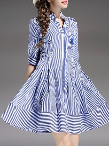 Blue Stripes Stand Collar Half Sleeve Mini Dress