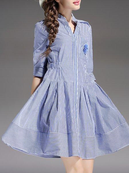 Blue Stripes Stand Collar Half Sleeve Mini Dress