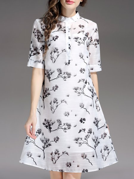 White Two Piece Short Sleeve Stand Collar Floral-print Midi Dress