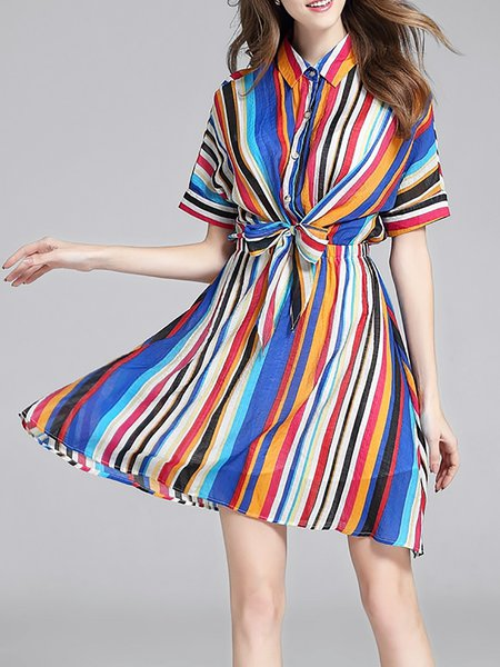 Multicolor Stripes Silk-blend Shirred Casual Mini Dress