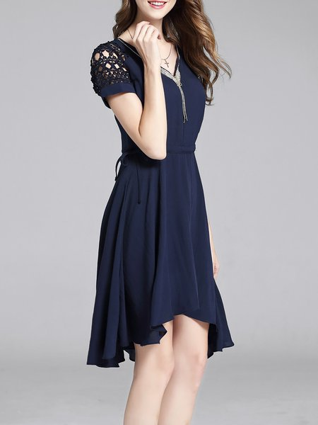 Navy Blue Beaded Plain Asymmetrical Short Sleeve Midi Dress