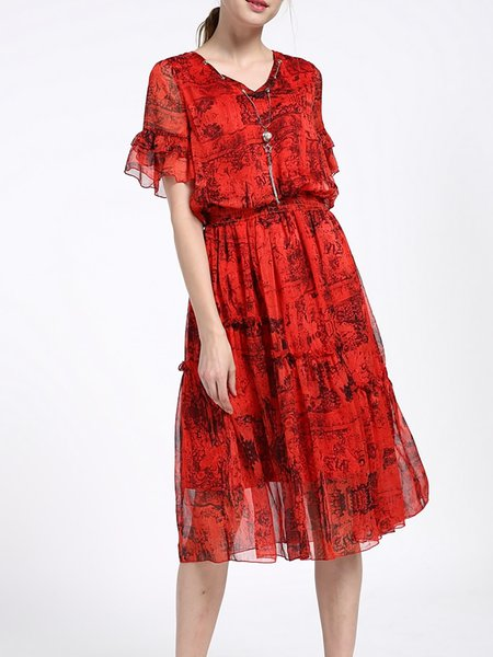 Red V Neck Shirred Silk-blend Frill Sleeve Midi Dress