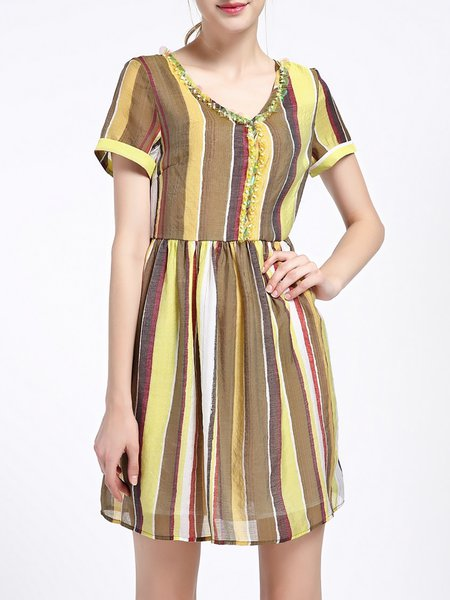 Yellow Stripes Casual Sequins Silk-blend Mini Dress