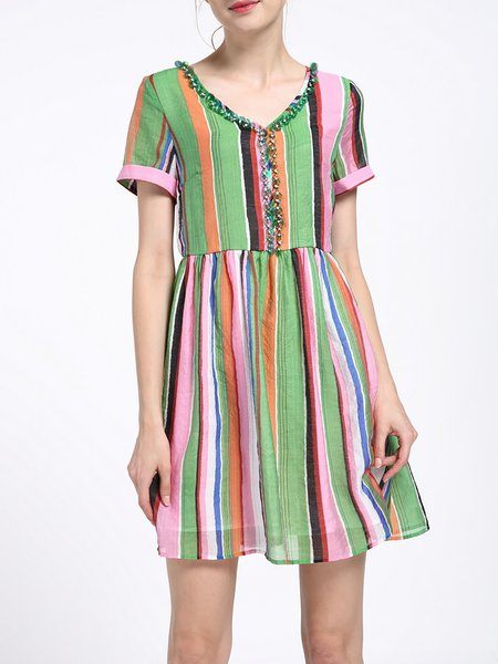 Green Stripes V Neck Sequins Silk-blend Mini Dress