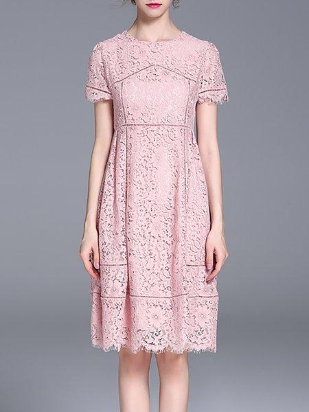 Pink Crew Neck Lace Casual Midi Dress
