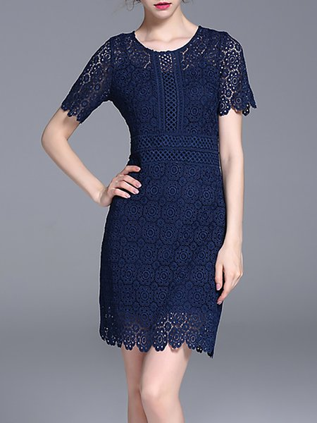 Navy Blue Short Sleeve Lace Pierced A-line Midi Dress