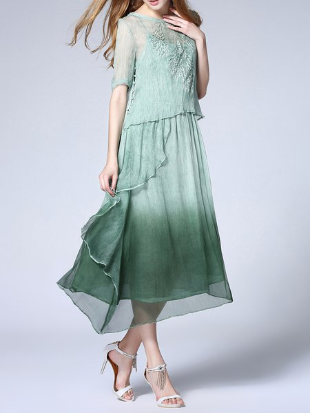 Green Elegant Two Piece Silk Midi Dress