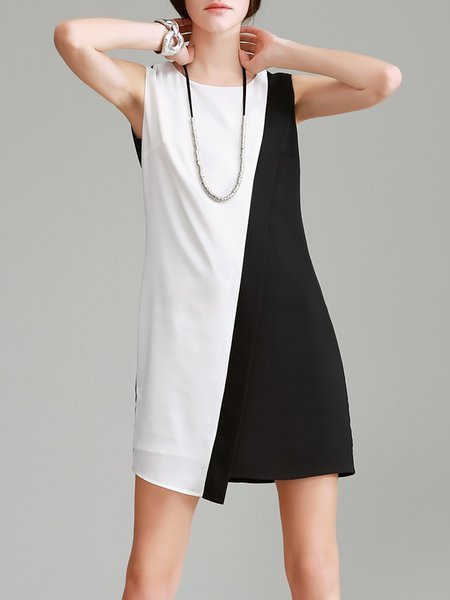 Crew Neck Simple Sleeveless Plain Polyester Mini Dress