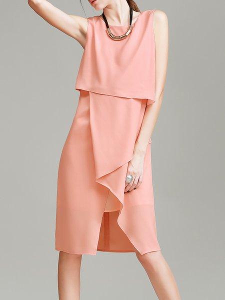 Pink Casual Asymmetrical Zipper Midi Dress
