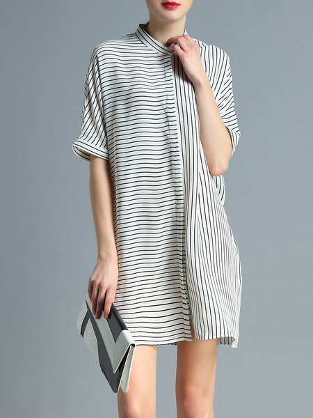 White Stripes Printed Shift Half Sleeve Shirt Dress