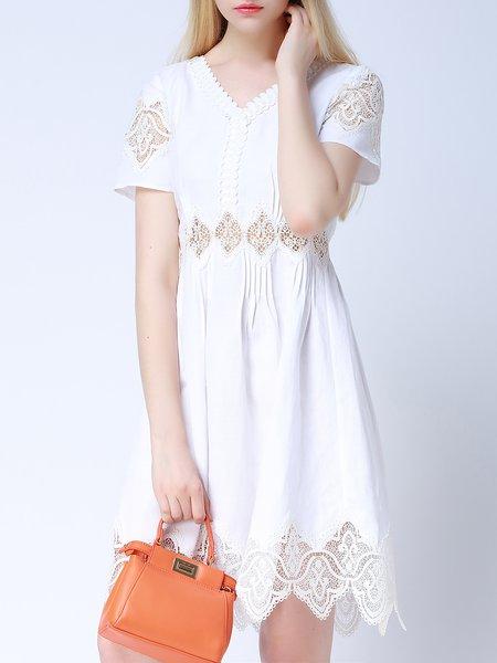 White V Neck Short Sleeve Lace Plain Midi Dress