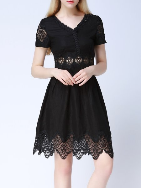 A-line V Neck Lace Girly Short Sleeve Mini Dress