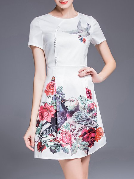 Printed Short Sleeve Vintage Graphic Mini Dress