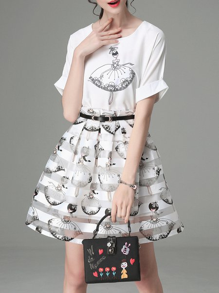 White Printed Three Pieces Mini Dress with Belt