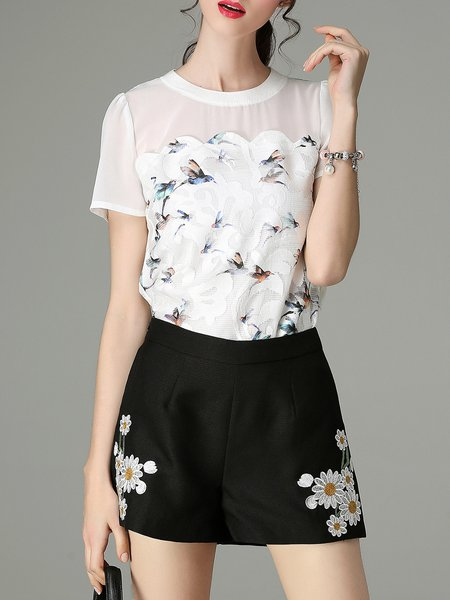 White Sweet Animal Print Chiffon Short Sleeved Top