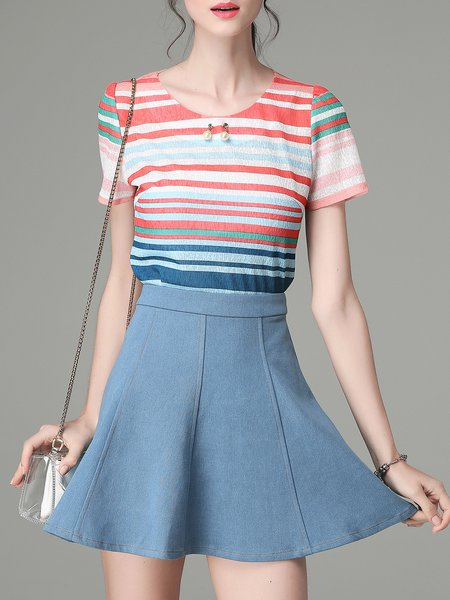 Multicolor Casual Beaded Short Sleeved Top