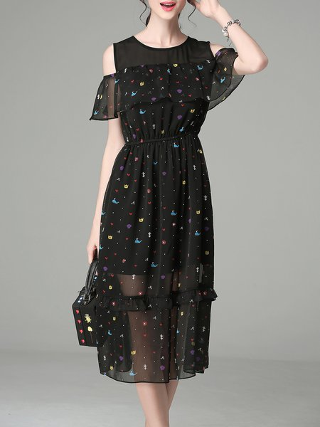 Black Printed Casual Chiffon Midi Dress