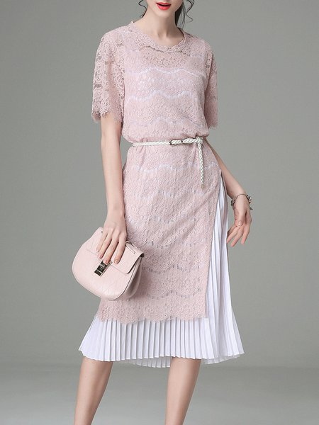 Two Piece Casual Crew Neck Pleated Short Sleeve Midi Dress with Belt