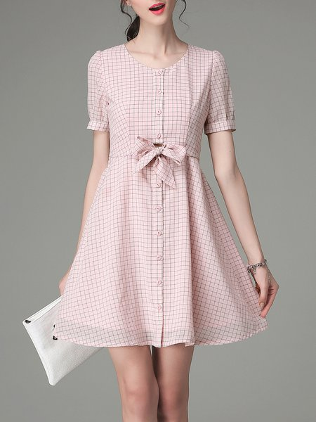 Pink Crew Neck Girly A-line Bow Mini Dress