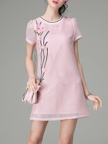 Pink Crew Neck Casual Embroidered Mini Dress