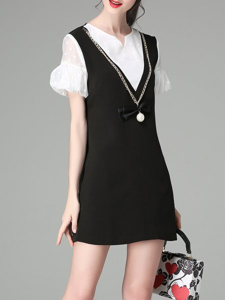 Paneled Girly V Neck A-line Frill Sleeve Mini Dress