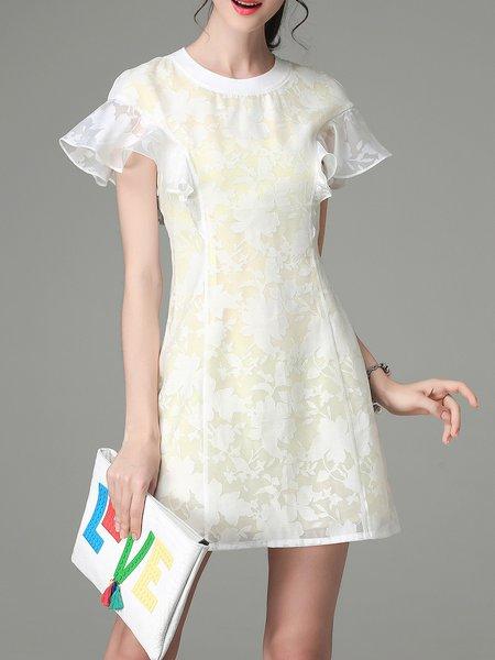 White Frill Sleeve Devore Floral Cotton-blend Mini Dress