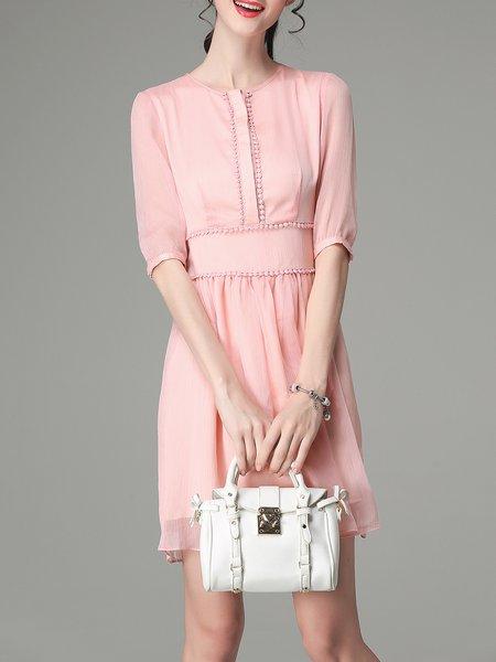 Pink Work Crew Neck A-line Zipper Mini Dress