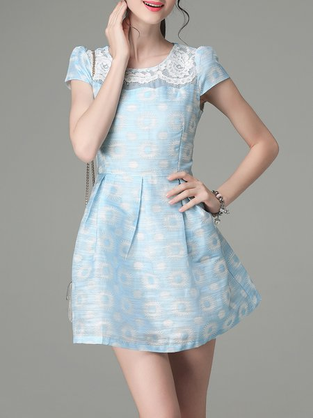 Blue Short Sleeve Printed Crew Neck Mini Dress