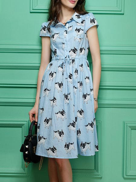 Cotton A-line Casual Short Sleeve Shirt Collar Midi Dress