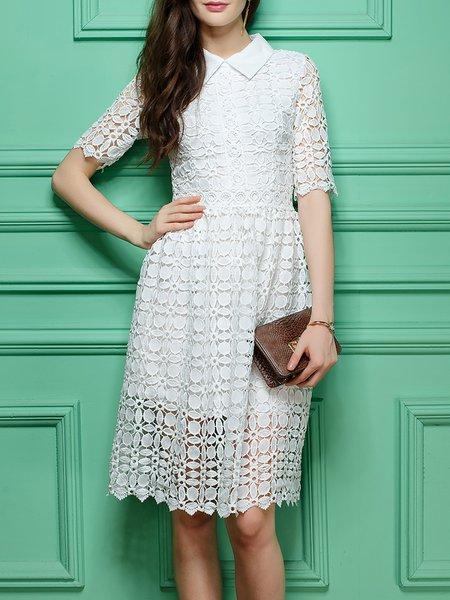 White Plain Pierced Casual Midi Dress