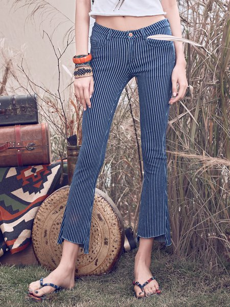 Dark Blue Cotton Stripes Straight Leg Pants