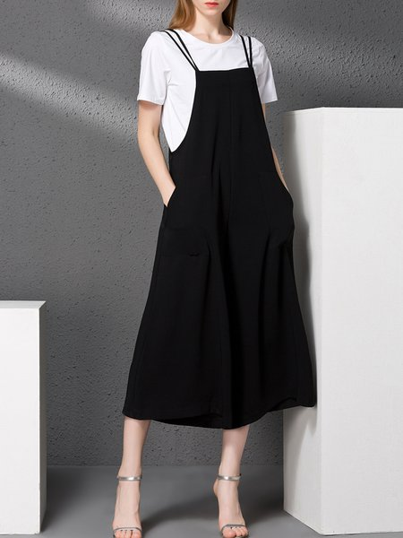 Black Simple Plain Pockets Jumpsuit