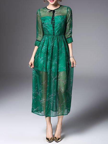 Green Swing 3/4 Sleeve Midi Dress