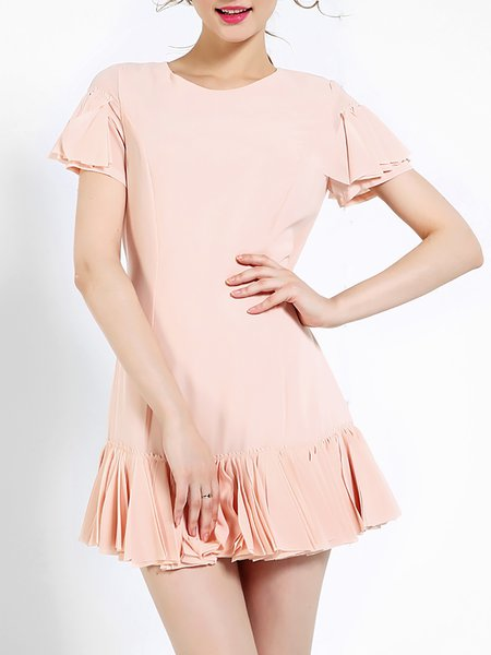 Pink Girly Crew Neck Ruffled Silk-blend Mini Dress