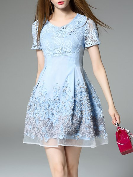 Light Blue Paneled Casual Floral Mini Dress