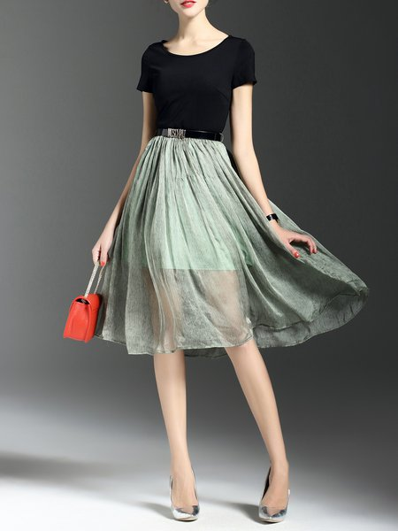 Green Short Sleeve Crew Neck Swing Midi Dress with Belt