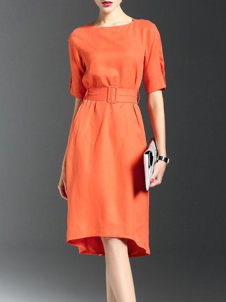 Orange Casual Plain Crew Neck High Low Midi Dress