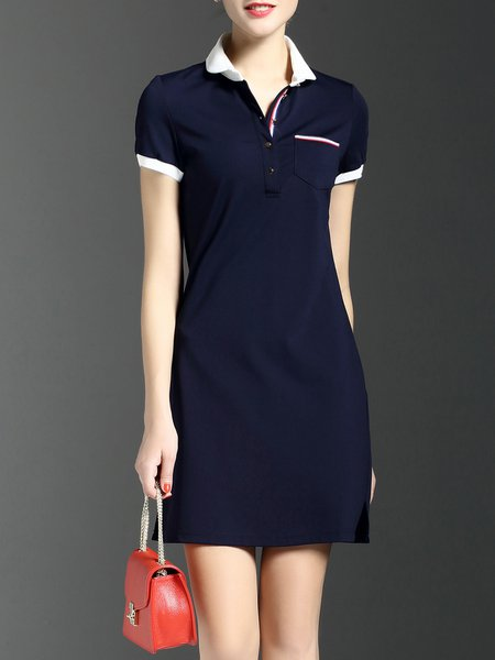 Navy Blue Casual Pockets Plain Shirt Collar Mini Dress