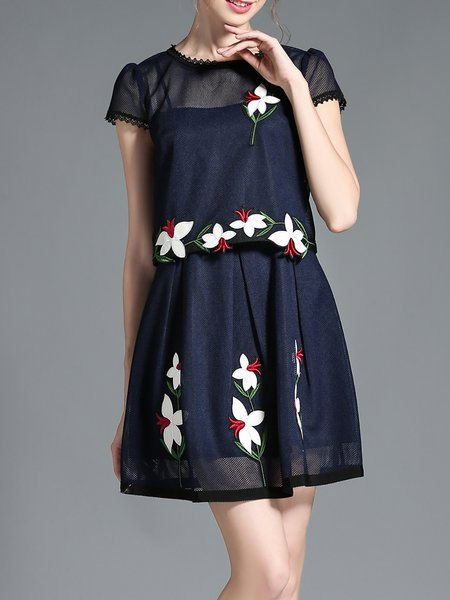 Blue Embroidered Crew Neck Girly A-line Mini Dress