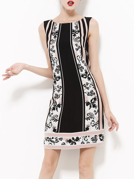 Black Sleeveless Sheath Floral-print Mini Dress