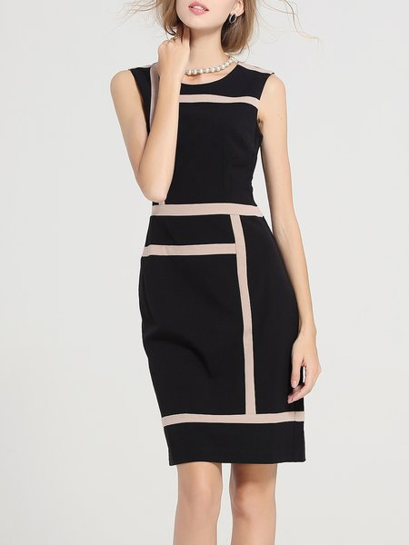 Black Sleeveless Sheath Paneled Crew Neck Midi Dress