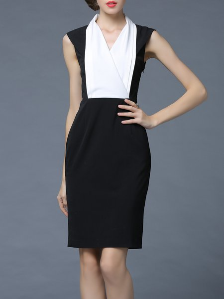 Black Sheath Sleeveless Surplice Neck Midi Dress