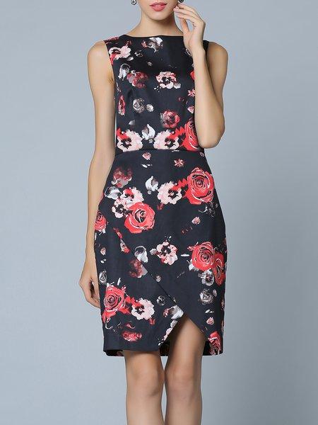 Black Bateau/boat Neck Sheath Cotton-blend Sleeveless Midi Dress