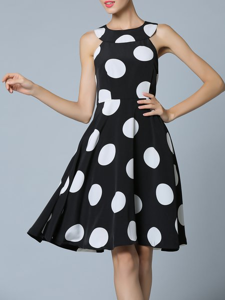 Black Sleeveless Polka Dots Printed Midi Dress
