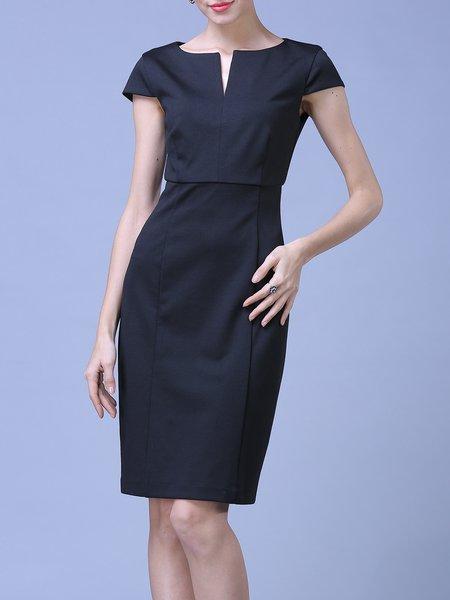 V Neck Short Sleeve Elegant Sheath Cotton-blend Midi Dress