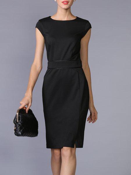 Black Work Slit Plain Cotton-blend Midi Dress