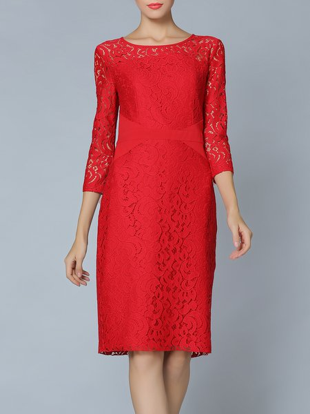 Red Crew Neck Floral Elegant Midi Dress