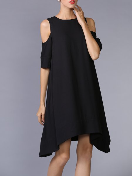 Black Asymmetrical Cutout Crew Neck Half Sleeve Midi Dress